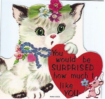Vintage Valentine's Day Greeting Card: surprised cat kitten and mouse
