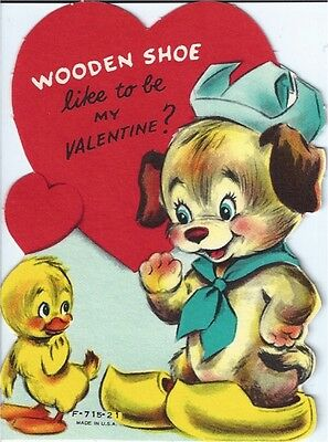 Vintage Valentine's Day Greeting Card: chick w/ dog puppy in wooden shoes