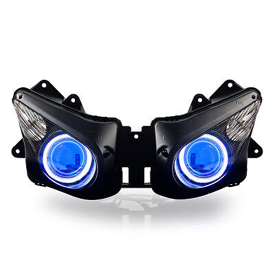 KT LED Angel Eye Headlight Assembly for Kawasaki Ninja ZX-10R 2006-2007 Blue Kit