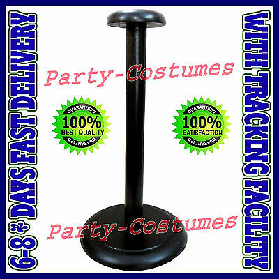 Wooden Helmet Stand Display Stand for Medieval Helmets - Foldable Black Stand d3