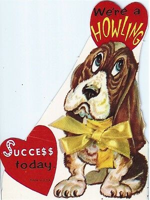 Vintage Valentine's Day Greeting Card: beagle dog 'howling success'