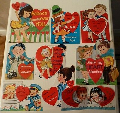 Lot of 9 Vintage Valentine's Day Greeting Cards: girls and boys