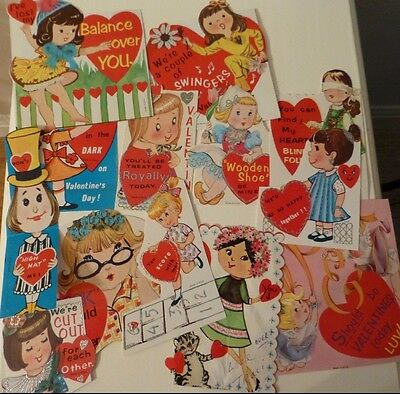 Lot of 12 Vintage Valentine's Day Greeting Cards: girls