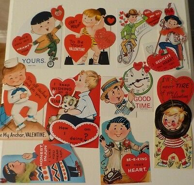Lot of 10 Vintage Valentine's Day Greeting Cards: boys