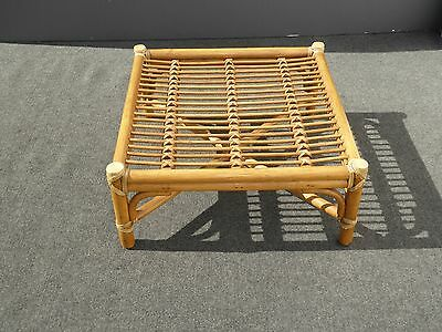 AUTHENTIC McGuire Vintage Bamboo Rattan OTTOMAN w Leather Bindings No Cushion