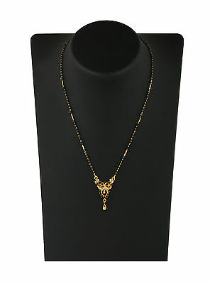 "Indian Mangalsutra 22K Gold Plated Black Beads 18"" Traditional Necklace M436B"