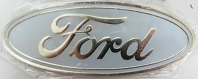 AS NEW 115mm X 46mm WHITE FORD BADGE - GS83