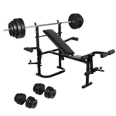 # Multi-Station Weight Bench Press 3pc 90KG Dumbbell Barbell Set Fitness Equipme