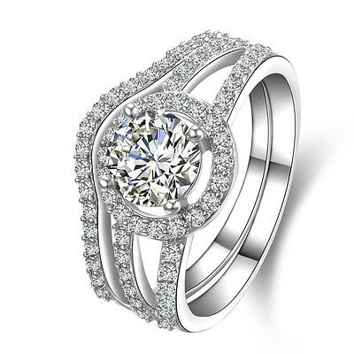 1.6ct CZ Engagement Wedding Ring Band Bridal Set 925 Sterling Silver