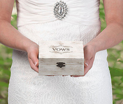 Rustic White Wedding Ring Box / Vows Box - Commitment Ceremony - Bride Groom