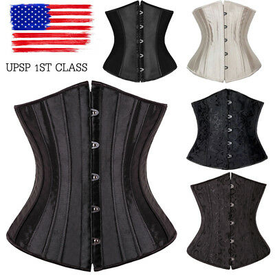 Waist trainer Underbust Corset Tummy Control Satin Brocade Steel Boned Lace up