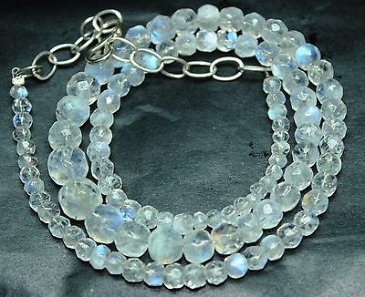 """15""""Natural Blue Fire Play RAINBOW MOONSTONE Faceted Beads Necklace-98880"""