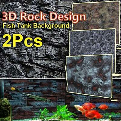 2x 3D Foam Rock Aquarium Background Backdrop Fish Tank Reptile Reptile Marine