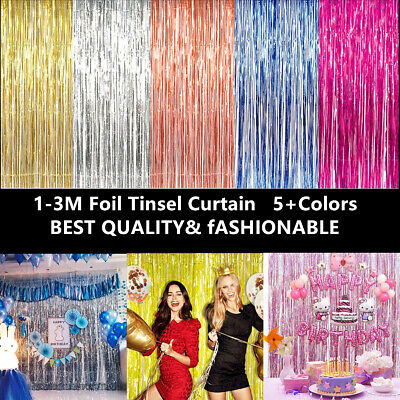 3x1M Metallic Foil Fringe Tinsel Curtain Wedding Backdrop Birthday Party Decor
