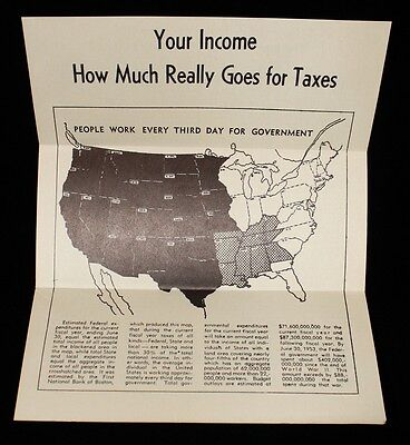 """1952 CA Republican Pamphlet """"Your Income - How Much Really Goes for Taxes"""""""