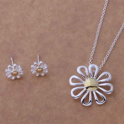 2017 New fashion jewelry solid silver Daisy Necklace & Earring + GIFT BOX925