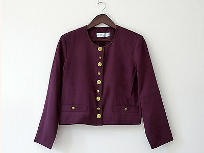 VTG St Michael 80s : Chic cropped wine maroon jacket gold buttons  S / 8 / 10