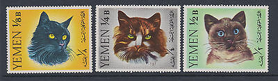 Yemen  1965 - SG R99-101 -  Cats - 3 mounted mint