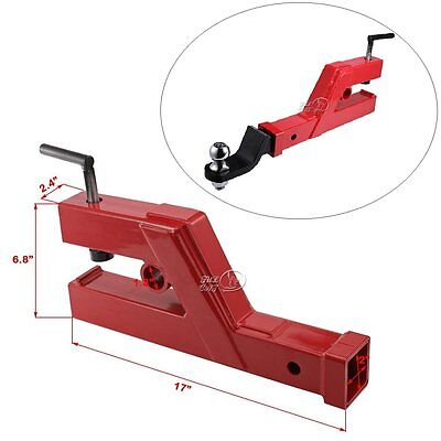 "Clamp On Trailer Hitch 2"" Ball Mount Receiver Deere Bobcat Tractor Bucket Red"