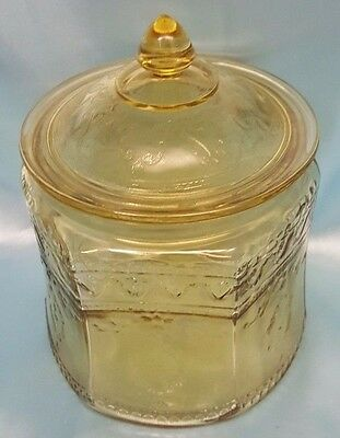 1930's Patrician Spoke Amber Depression Cookie Jar With Lid - Federal Glass Co.