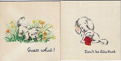2 Vintage Brownie greeting cards: cute puppy dog - small blank cards