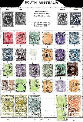 Selection of 31 South Australia used stamps