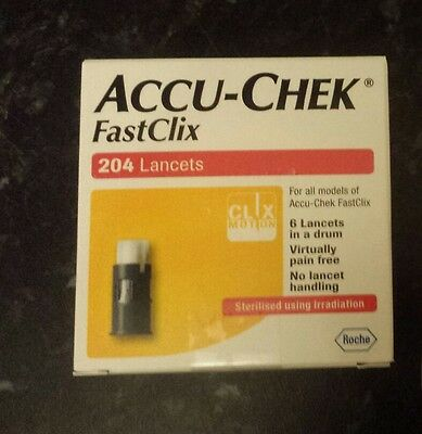 FastClix Accu Chek Lancets 200 + 4 New Box Blood Glucose Test  expire 2020.