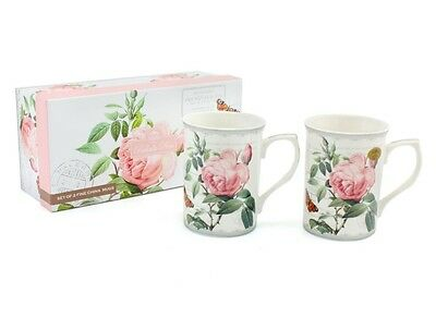 Redoute Rose Fine China set of 2 Mugs - Gift Boxed