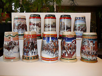 Budweiser Clydesdale Holiday Steins, Set of Ten from 1990 to 1999