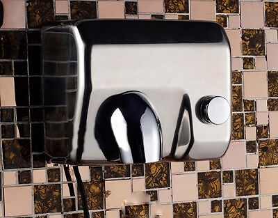 Silvery Stainless Steel Bathroom Wall Mounted Semi-automatic Hand Dryer Machine