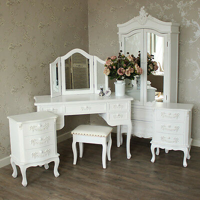 White bedroom furniture set closet bedside chest dressing table mirror stool