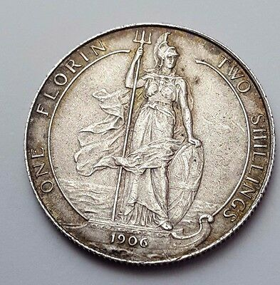 1906 - Silver - Two Shillings / Florin Great Britain - King Edward VII - UK Coin