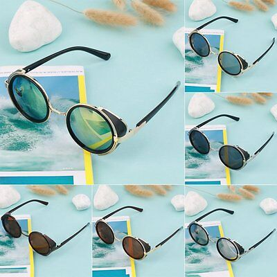 Steampunk Sunglasses Round Glasses Cyber Goggles Vintage Retro Style Blinder #^