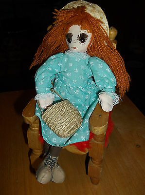 Vintage 1988 Applause Country Girl Doll With Tag~Dress~Pants~Straw Hat~Purse