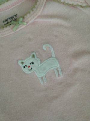 Carter's baby girl 6 months long sleeve one piece infant bodysuit pink cat
