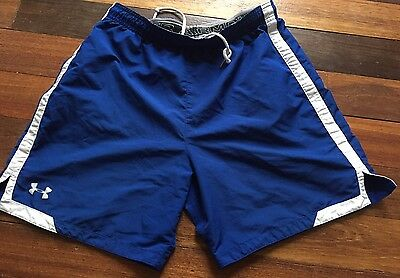 UNDER ARMOUR Youth Large Blue w White Soccer Athletic Shorts