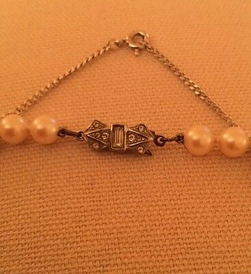 Pearls Vintage Faux? With Sparkly Clip And Safety Chain