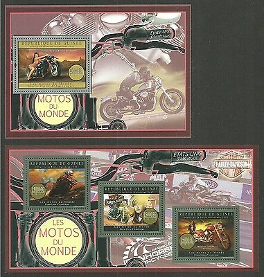 Guinea 2012 Motorcycles Of Usa Harley Davidson Films Brando Set Of 2 M/sheets