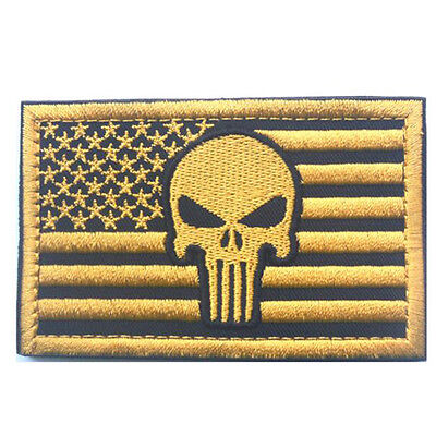 USA American Flag Punisher Skull US Military Subdued Tactical Morale Badge Patch