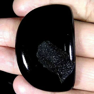 103.70Cts. NATURAL BLACK ONYX DRUZY AGATE FANCY CABOCHON AFRICAN LOOSE GEMSTONE