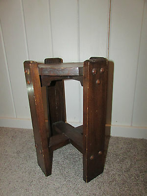 Vintage distressed dark Wooden Accent End Table Plant Stand UNIQUE