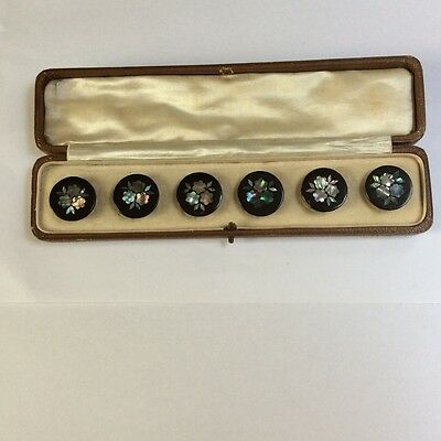 Victorian papier-mâché buttons inlaid with mother of pearl