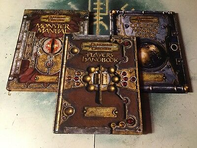 Dungeons & Dragons 3.5 Edition Core Rulebook Lot ~ PHB, DMG & MM + Dice
