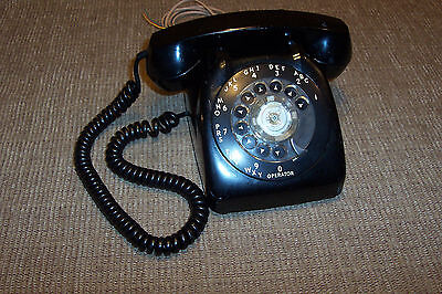Vintage Automatic Electric Rotary Dial Telephone Old Black Desk Phone