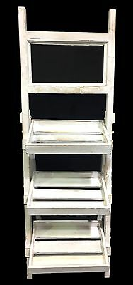 NEW Wooden White Rack w Blackboard Plant Pot Stand Storage Wedding Cafe Stand