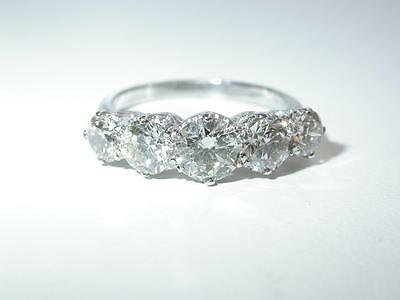 VINTAGE 18ct GOLD 2.5ct FIVE STONE DIAMOND RING C.1980