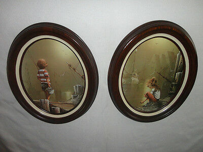 Home Interiors 2pc Set Oval '' Boy & Girl By Sea '' Picture Gorgeous 16'' x 19''