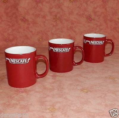 """NESCAFE 3.5"""" (APPRX.) HIGH COFFEE MUGS x 3 – DARKER RED THAN USUAL (D13)"""