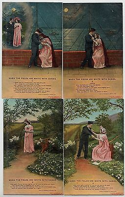 """SET OF 4 POSTCARDS - Bamforth Song Cards """"Fields are White With Daisies"""" #4503"""