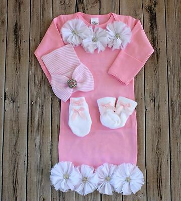 PINK Newborn Baby Girl take me home gown Bowknot Hospital Cap Beanie Hat SET